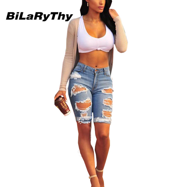 BiLaRyThy Fashion Women Casual Ripped Holes Jeans Sexy High Waist Knee Length Cool Blue Denim Pants Trousers