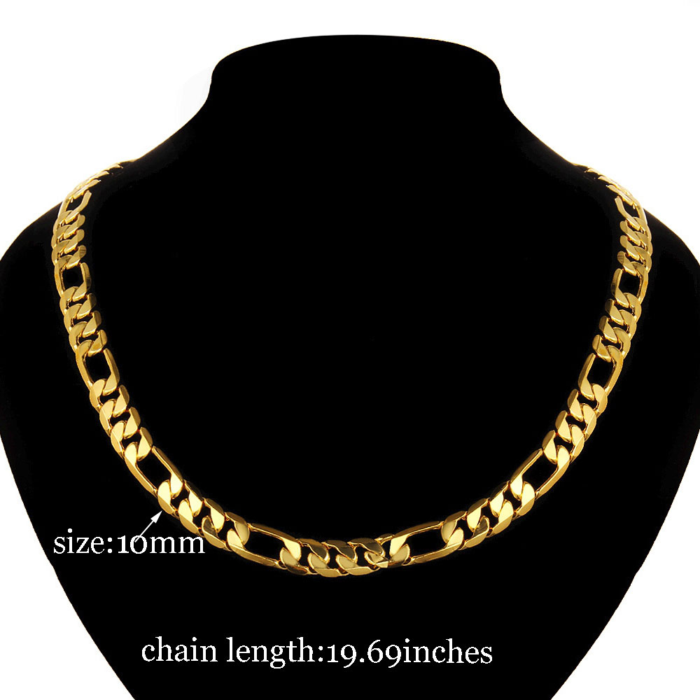 Classic Luxury Men jewelry Gold Color Necklace Chain Men Stamp Men Jewelry New Trendy Long Wedding Chain Necklace 2017 1