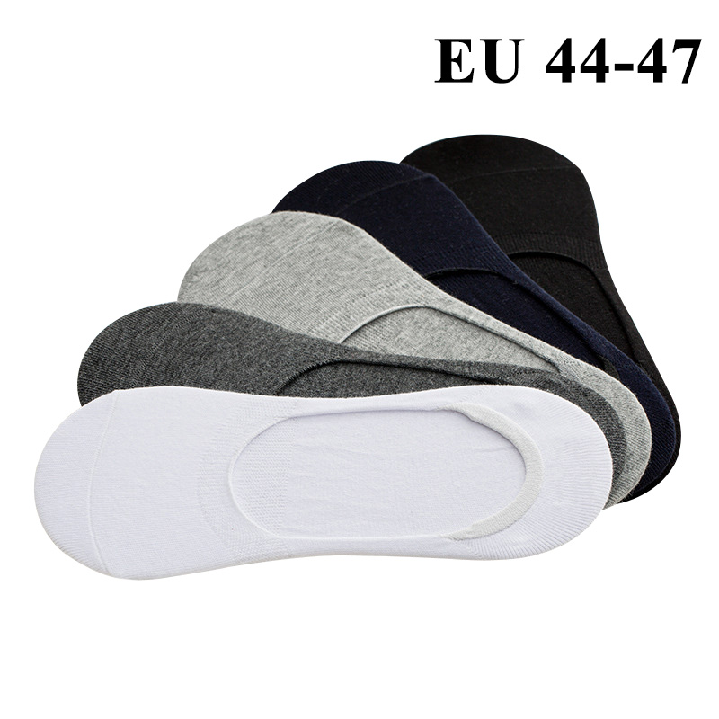 5 Pairs Mens Boat Socks Large Big Plus Size 46,47,48 Non-slip Silicone Invisible No Show Socks All-match Sock Slippers Sox Meias