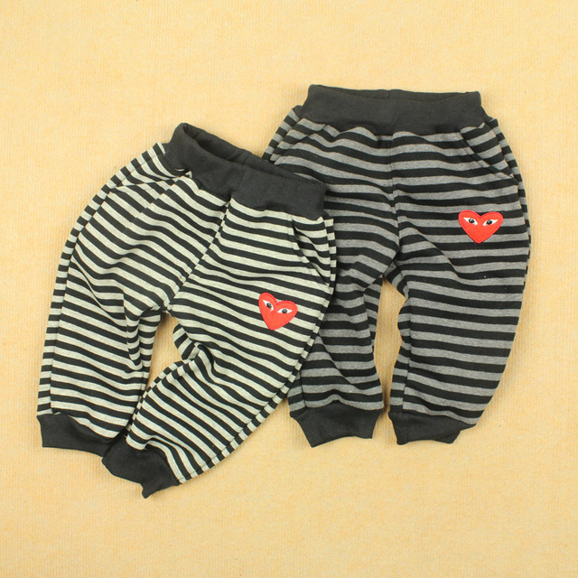 Horizontal stripe big pp trousers baby thickening wool winter male female child child 100% cotton plus velvet trousers
