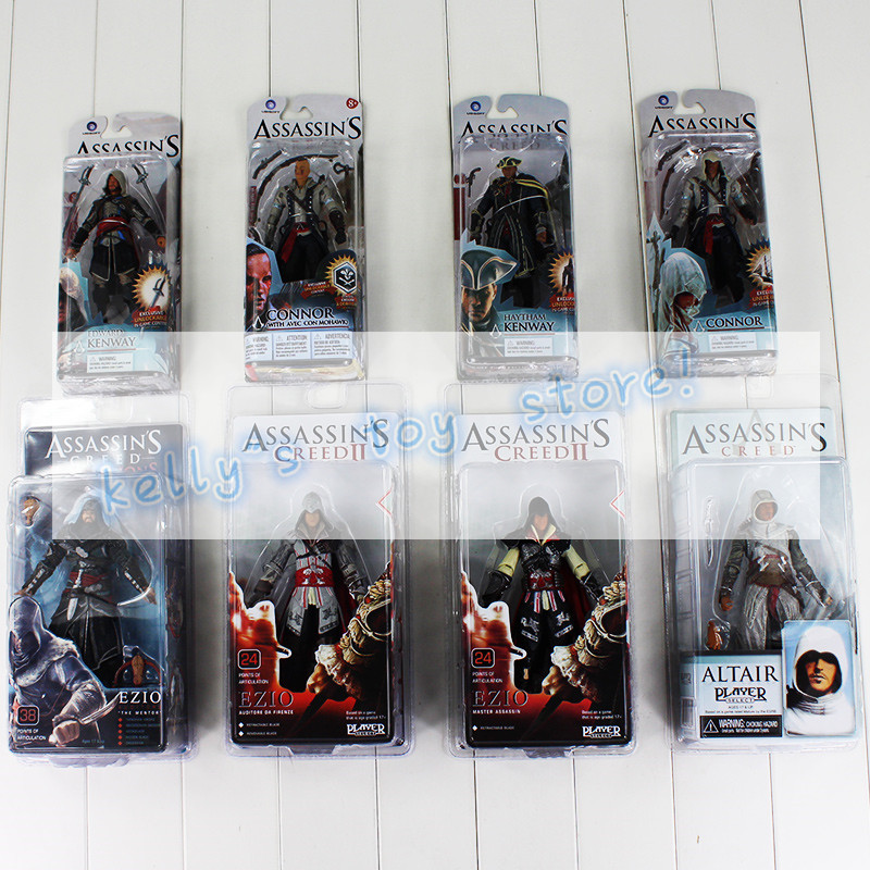 Full 8Style Assassin's Creed 4 Black Flag Connor Haytham Kenway Haytham Kenway Altair Ezio Master Assassin PVC Action Figure Toy shiloh crib stroller toy crib mobile baby plush doll infant children newborn boy girl gift with 60 songs musical box holder arm