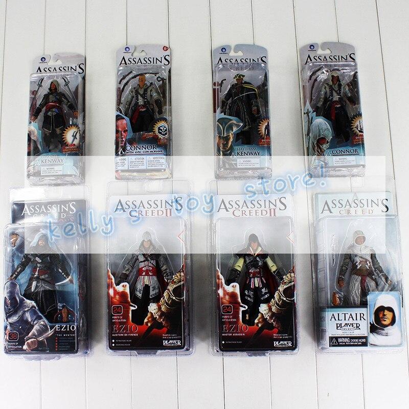 Full 8Style <font><b>Assassin's</b></font> <font><b>Creed</b></font> <font><b>4</b></font> <font><b>Black</b></font> <font><b>Flag</b></font> <font><b>Connor</b></font> Haytham Kenway Haytham Kenway Altair Ezio Master <font><b>Assassin</b></font> <font><b>PVC</b></font> Action Figure Toy