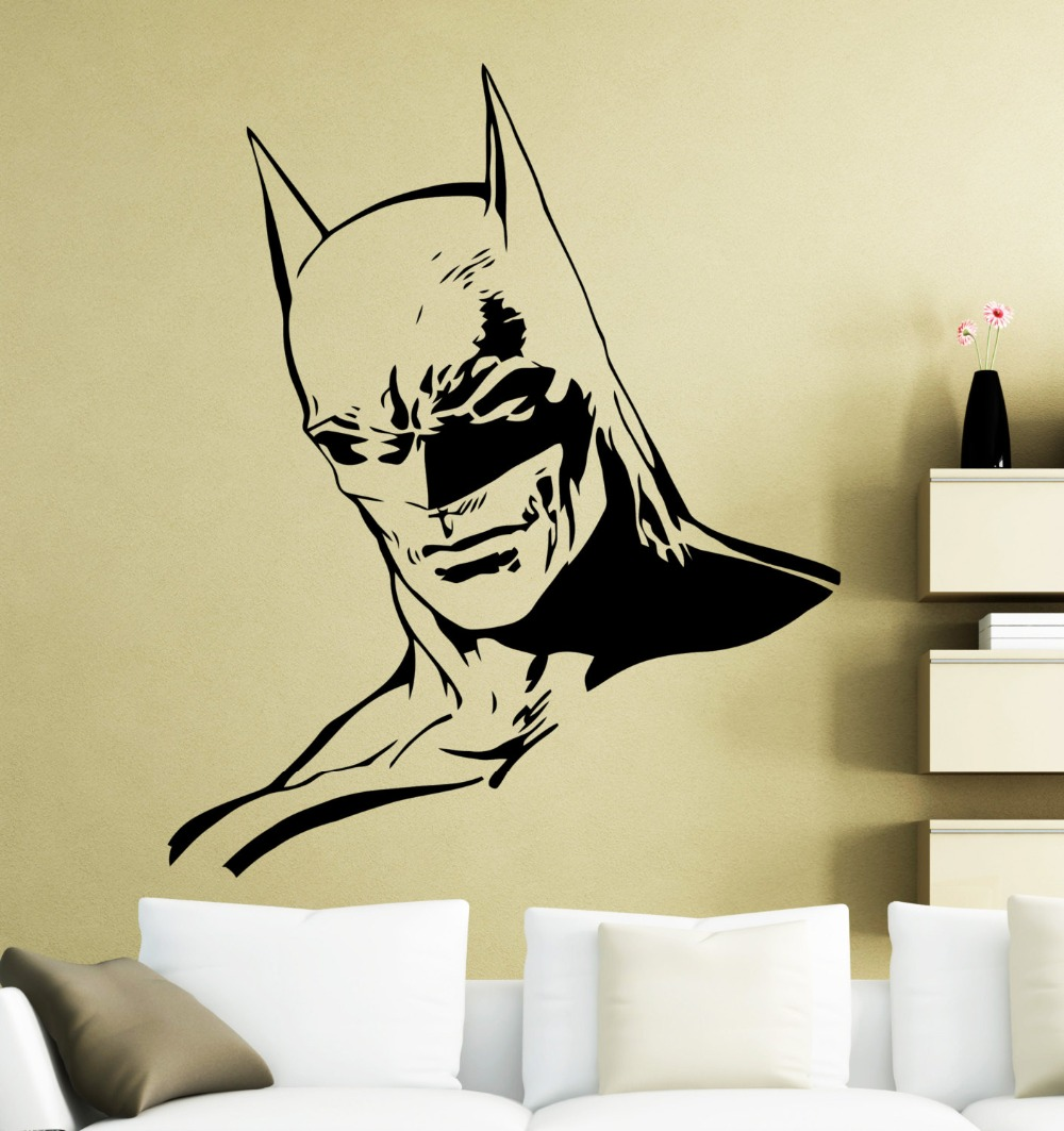 Batman Head Handsome Face Wall Stickers Home Rooms Art Decorative ...