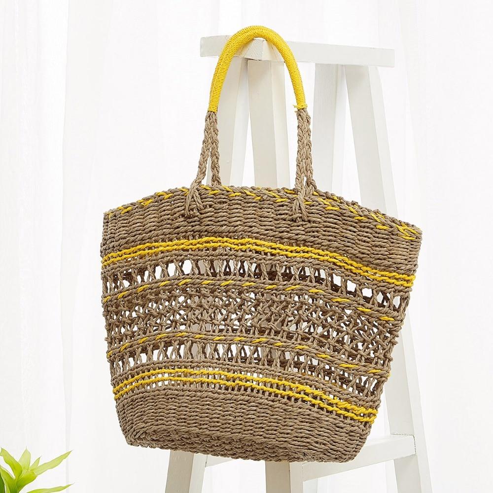 Openwork Large Straw Bag Female Shoulder Beach Bag Hand-woven Big Cut-Out Tote Bag