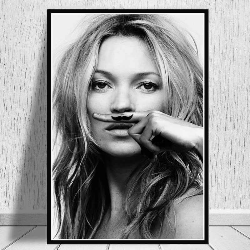 حار كيت موس نموذج ستار بريجيت التدخين أسود أبيض لوحة زيتية قماشية المشارك يطبع الفن جدار الصور غرفة المعيشة ديكور المنزل