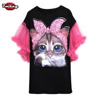 7mang 2018 summer women cute black white cartoon cat sequins t shirt lady street harajuku loose mesh butterfly sleeve party tees