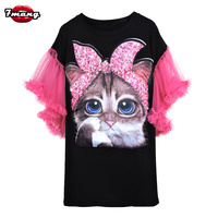 7mang 2018 summer women cute black white cartoon cat sequins t shirt lady street harajuku loose mesh butterfly sleeve party tees