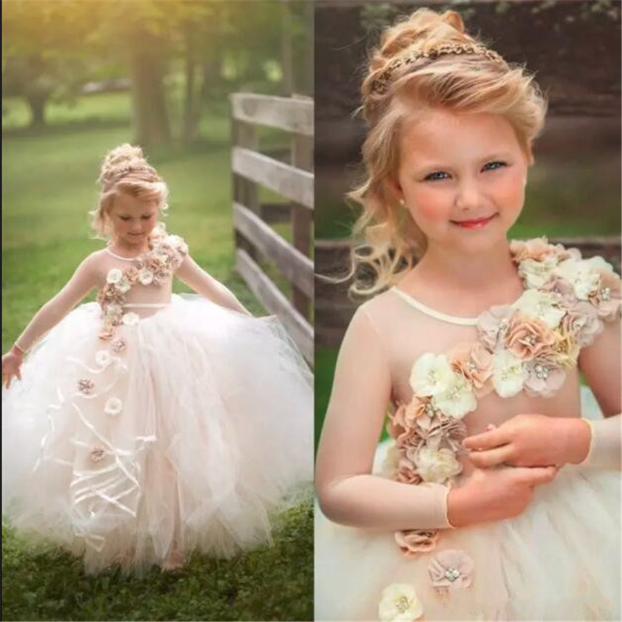 Gold Long Sleeve   Flower     Girl     Dress   For Wedding Parties with 3D Floral Appliques Beading Princess Tutu Boho Pageant Gowns