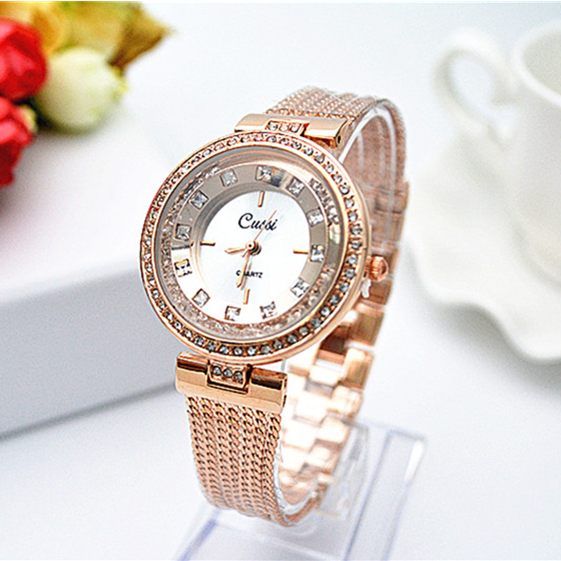 CUSSI Brand Rose Gold Bracelet Watch Women Watches Luxury Diamond Women's Watches Ladies Watch Clock Montre Femme Reloj Mujer popular women watches brand luxury leather reloj mujer rose gold clock ladies casual quartz watch women dress watch montre femme