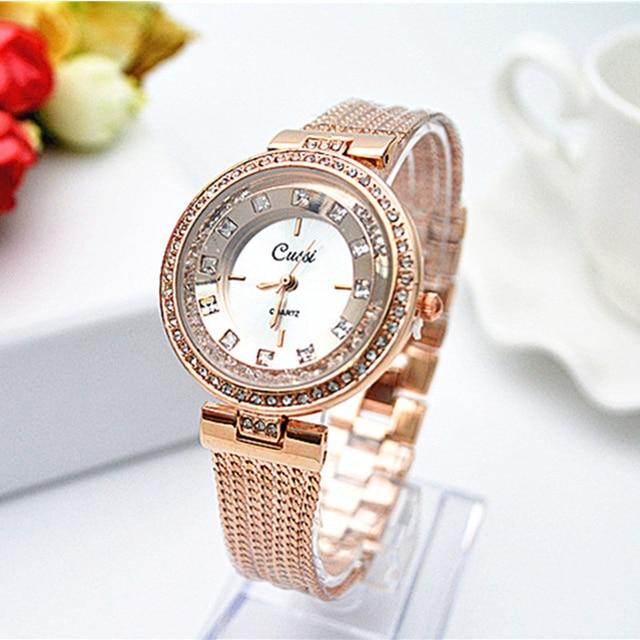 CUSSI Brand Rose Gold Bracelet Watch Women Watches Luxury Diamond Women's Watche