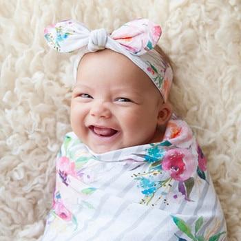 Wrap+Headbands 2Pcs Baby blanket Newborn Infant Baby Swaddle Blanket Sleeping Swaddle Muslin Cotton Muslin Blanket High Quality защитный детский шлем