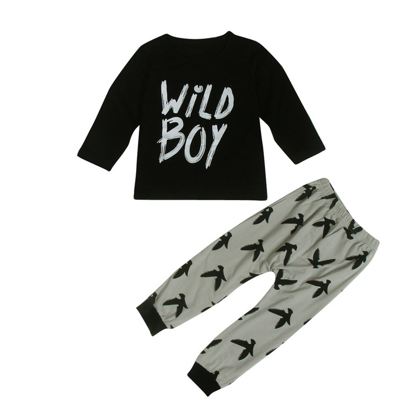 ARLONEET 1Set Toddler Infant Baby Boys Letter Print T-shirt Tops+Pants Outfits Clothes Feb23/P