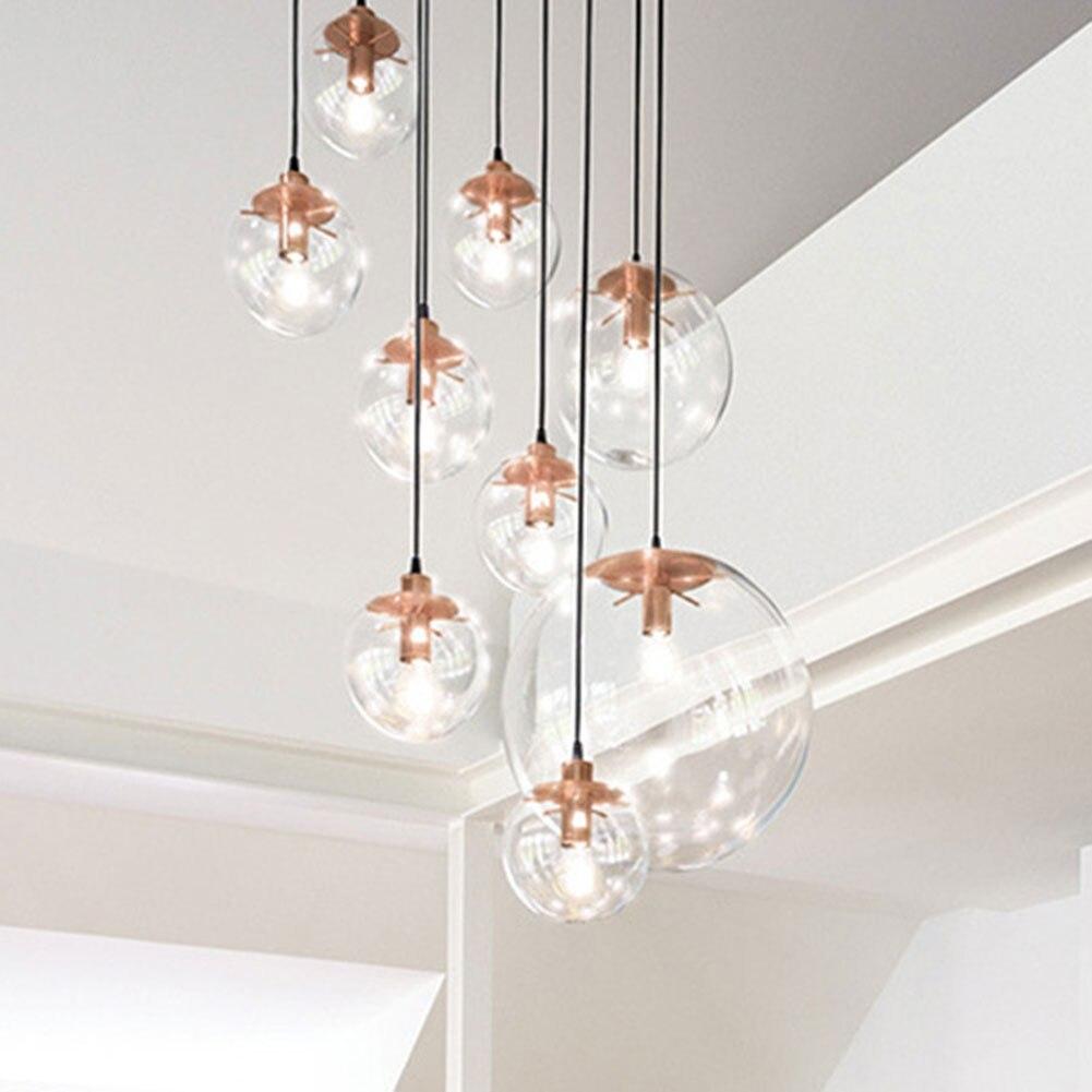 Hot Modern Nordic Chandelier Multi-lights Staircase Pendant Glass Ball Light for Living Room Stairs PLD