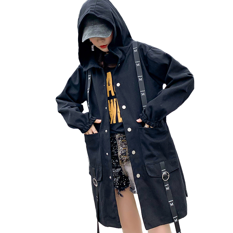 2019 Spring Autumn Long   Jacket   Womens Streetwear Black Loose Hooded Ribbon   Basic     Jackets   Coats harajuku Outerwear chaqueta mujer