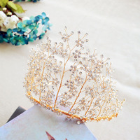 Bavoen Brides Handmade Great Crystal Tiara Crowns Korean Flower Hairbands Headpieces Wedding Dress Accessories