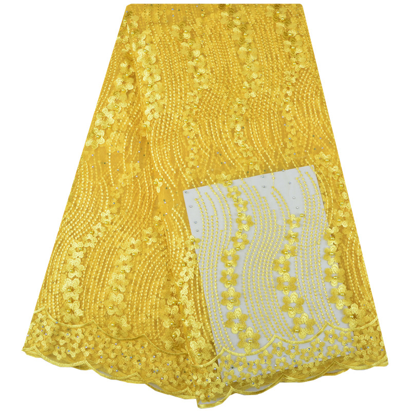 Fashion African Lace Fabric High Quality Yellow Color Lace Nigerian Lace Fabric 2018 High Quality Lace