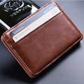 Clamp for Money Thin Billfold Wallet Men Money Clips Pu Leather 2 Folded Open Holder Credit Card Case Cash Clip Hot Sale Retro