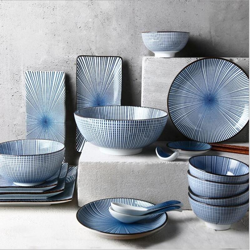 Assiettes de cuisine en céramique | Bague annuelle bleue assiettes de cuisine, service de table, plats de nourriture, riz salade nouilles bol soupe outil de cuisine 1 ensemble