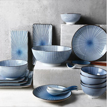 Blue Annual Ring Dinner Plate  Ceramic Kitchen Plate Tableware Set Food Dishes Rice Salad Noodles Bowl Soup Kitchen Cook Tool 5 6 8 inch japanese cherry blossom ceramic ramen bowl large instant noodle rice soup salad bowl container porcelain tableware