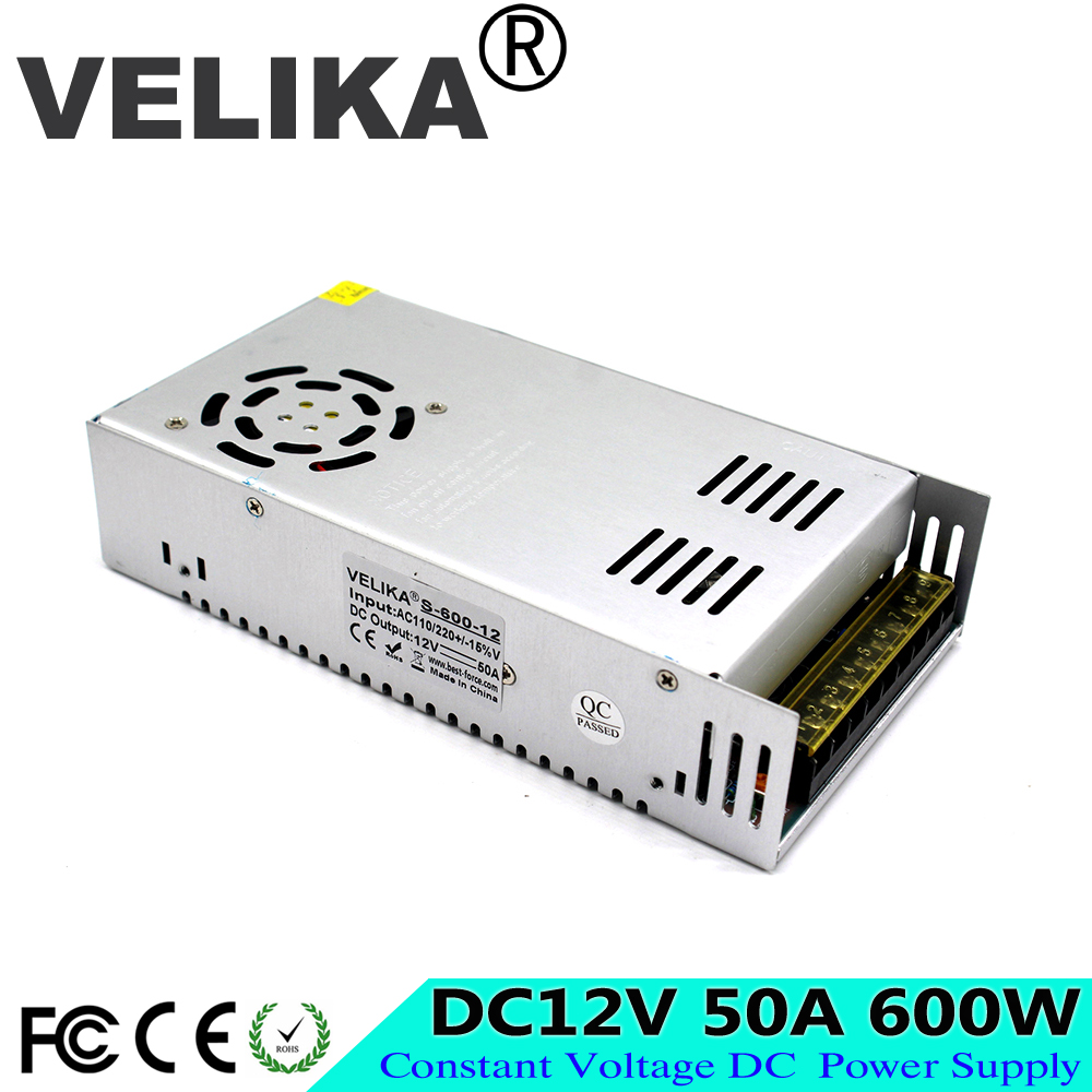 US $31 33 15% OFF|DC Power Supply 12V 50A 600w Led Driver Transformers  AC110V 220V to dc12V SMPS Power Adapter for strip lamp Light CNC CCTV-in