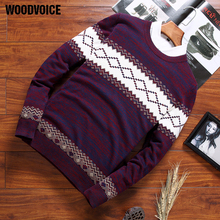 Woodvoice 2019 New Arrival Brand Sweater Men High Quality Fashion Male Pullover Sweaters Casual Knitted Rhombus Print Sweaters