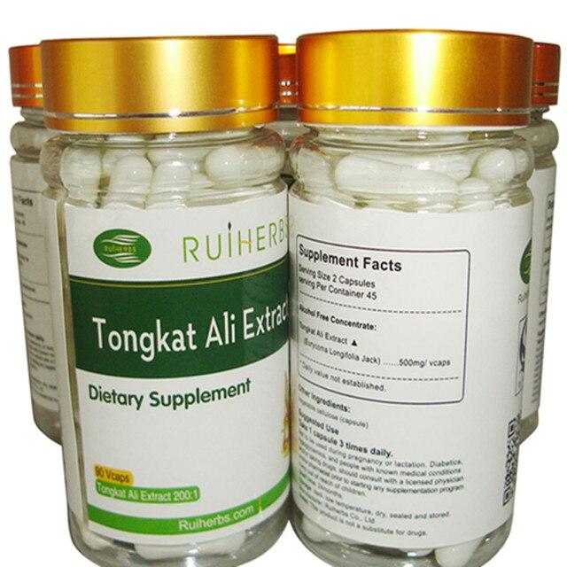 1 Бутылка Тонгкат Али Экстракт (200:1 Экстракт Сила) 500 мг Капсулы x90