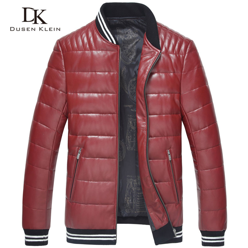 Men Genuine Leather Down Jacket Winter Outerwear Black/Red/Slim/Simple Business Style/Sheepskin/ Casual leather Coat 15Z1507