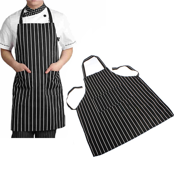 Durable Useful Adjustable Adult Black Stripe Bib Apron with 2 Pockets Waiter Kitchen Resturant Necessary