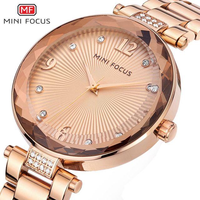 MINI FOCUS Vrouwen Crystal Gold Horloges Dames Beroemde Top Merk Luxe Quartz Horloge Vrouwelijke Klok Montre Femme Relogio Feminino