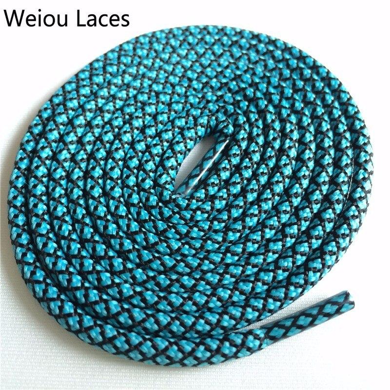 Weiou новые яркие цвета для пеших прогулок, двухцветные шнурки, сменные шнурки для обуви, круглые шнурки для баскетбола 750 - Цвет: 21Light Blue Black