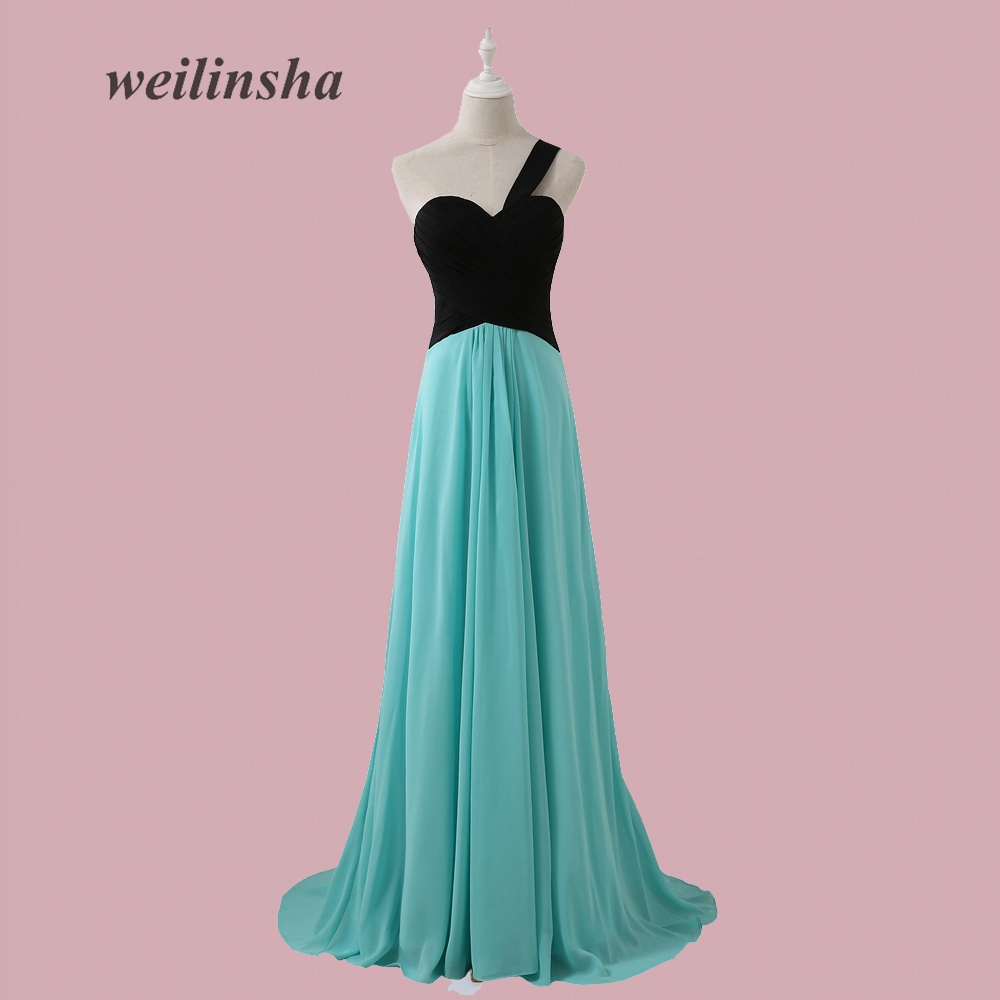weilinsha One-shoulder Chiffon   Bridesmaid     Dress   Long Floor Length Maid of Honor   Dress   Robe Demoiselle D'honneur
