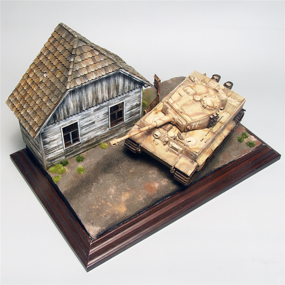 1:35 Wooden European House No.2 Battlefield Military Scene Model House 3D Puzzle DIY Painting Educational Toys Gift For Children