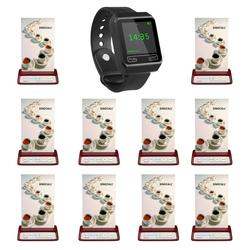 SINGCALL wireless restaurant calling system, beeper pager,1 mobile watch receiver plus 10 red table pagers