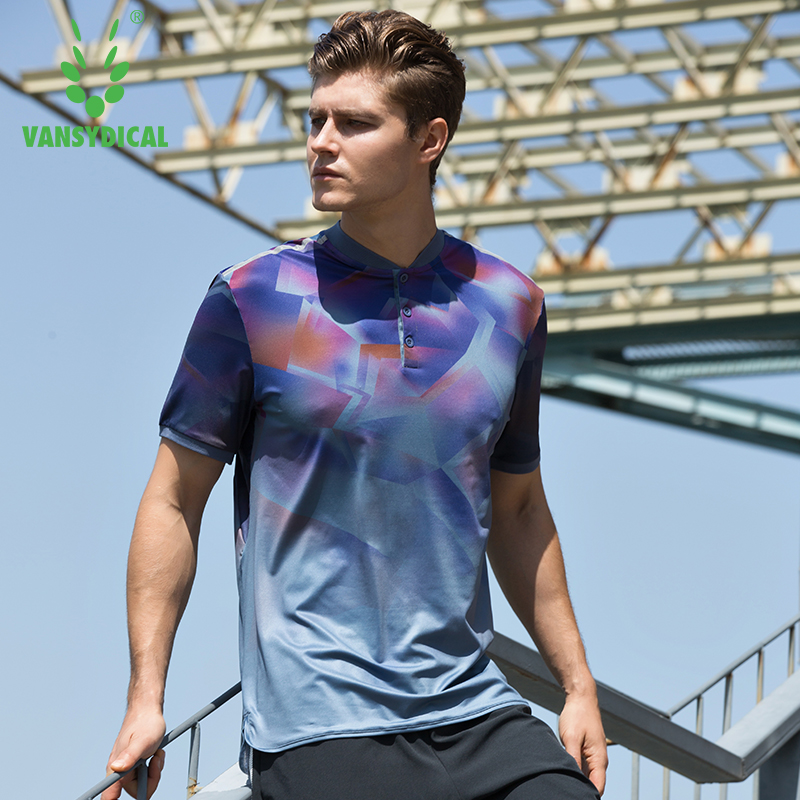 Vansydical Stand Collar Sports T-shirt Mens Tennis Training Tees Breathable Fitness Workout Golf Tops