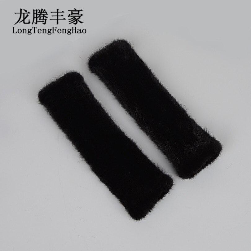 30cm Knitted Gloves Women Mink Fur Gloves Female Warm Long Gloves 100% Genuine Fur Mittens Winter Thick Solid Gloves Fingerless