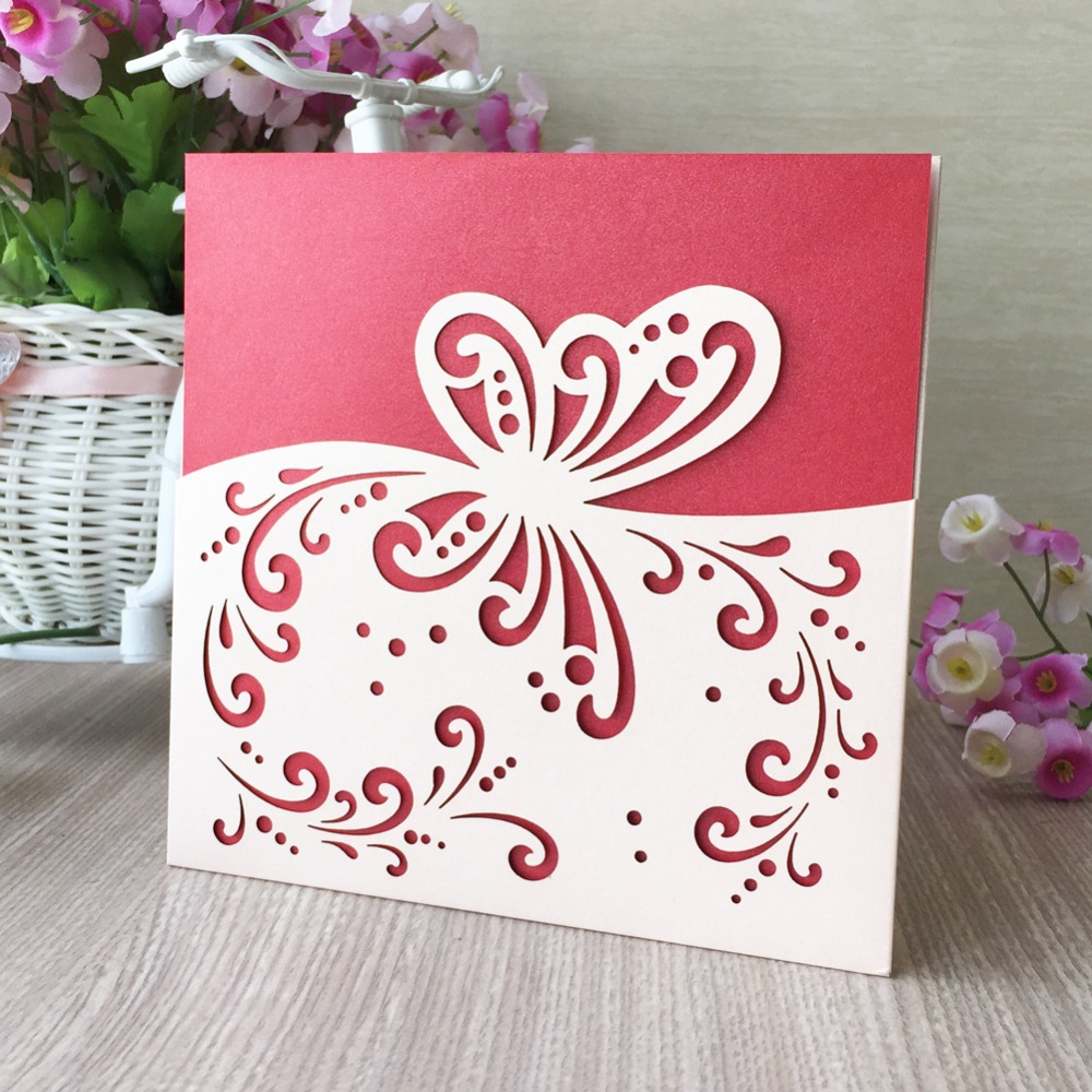 50Pcs Laser Cut Pearl Paper Pretty Wedding Invitation