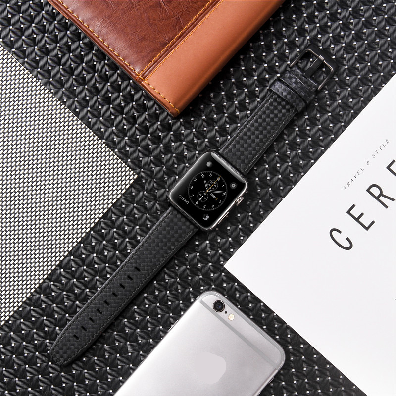 High Quality Real Carbon Fiber Genuine Leather Watch Band Strap for Apple Watch Series 5/4/3/2/144mm 40mm 42mm 38mm for iWatch image