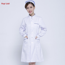 Cotton white coat of cotton short - sleeved doctors work clothes long sleeve hospital medical dress White blue borde