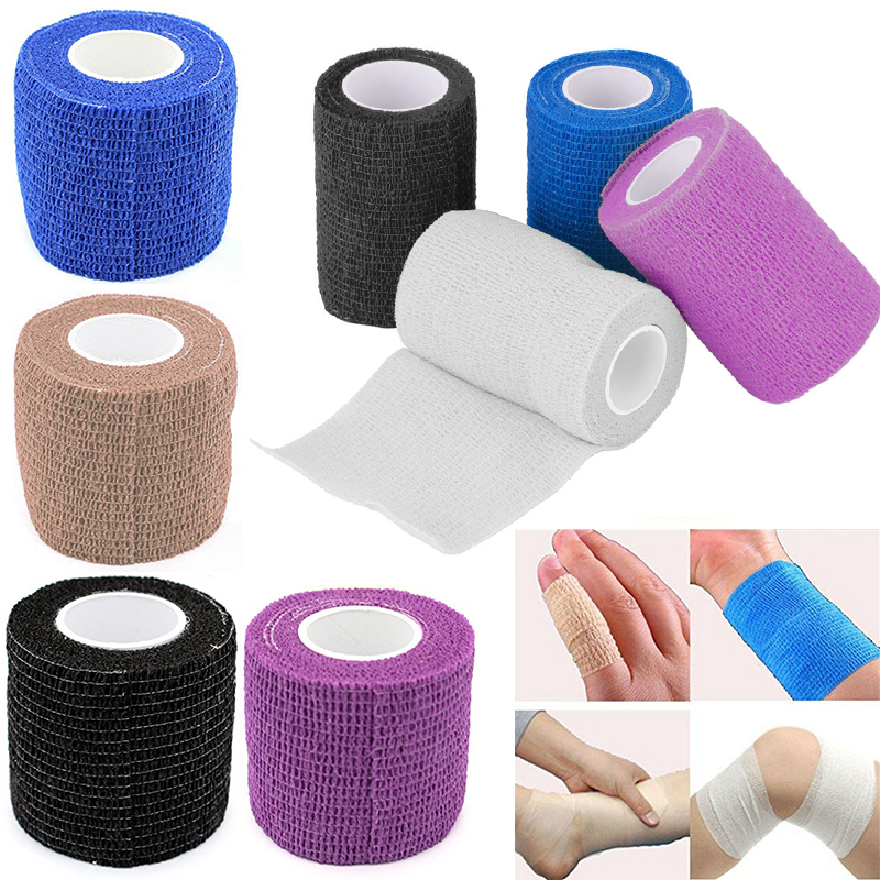 Security First Aid Survival Elastic Bandage Waterproof Self-Adhesive Kinesio Tape Cohesive Muscle Tape 10cm*5m 7.5cm*5m 2.5cm*5m 48pcs lot waterproof self adhesive nonwoven bandage first aid kit sport protect tape cohesive wound wrap for hand 5cm 4 5m