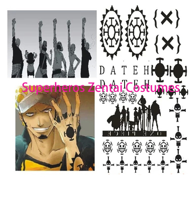 ONE PIECE Pirates of the Heart Trafalgar Law cosplay Animation Cartoon logo tatoo for Halloween Cosplay Costume tattoo Sticker