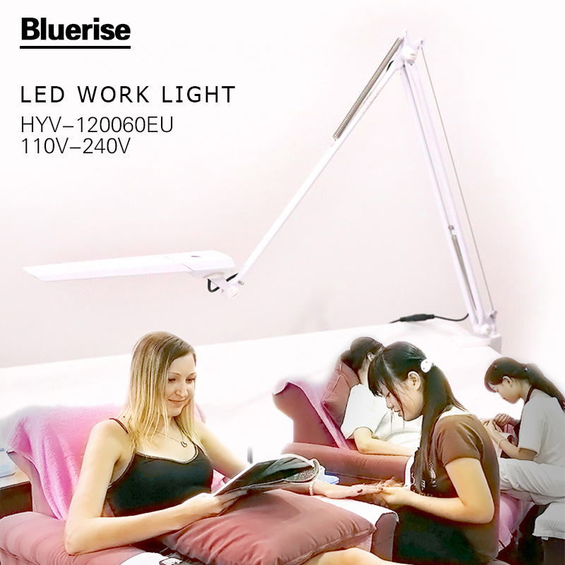Bluerise EU Plug LED Light Lamp White Desktop Folding  Glass Reading Study Light Nail Beauty Nail Salon Table Lamp yage desk lamp book reading night light colorful lamp for study non limit brightness 34pcs led 3 modes lamp eu usa uk plug