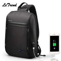 LeTrend Waterproof Multifunction USB Charging Men 13Inch Laptop Single Shoulder Bag For Teenager Male Mochila Leisure