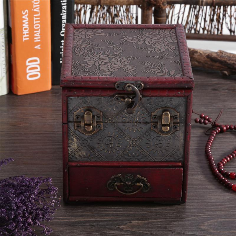 Classical Wooden Jewelry Organizer Storage Box Case Holder Chest With Mirror