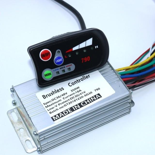 Amax controlador de Motor de CC sin escobillas, 36V, 48V, 350W, 18 controlador Ebike790 + pantalla 790LED, un juego