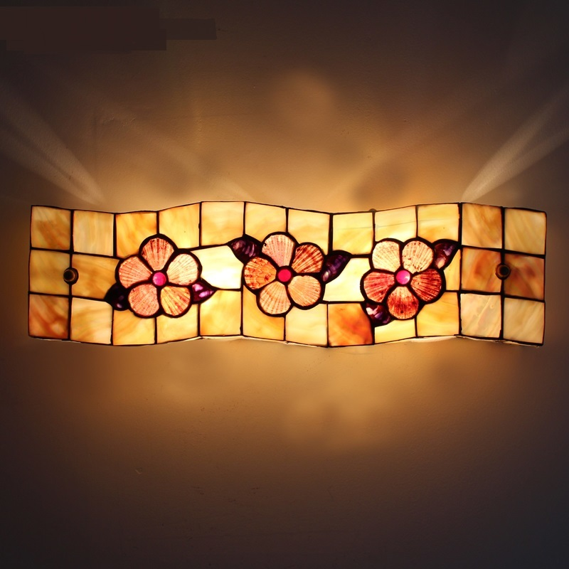 Mediterranean shell wall light bathroom mirror headlights European aisle toilet creative ...