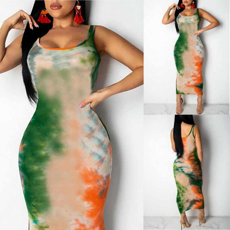 Kobiety Graffiti Slim dopasowana sukienka panie dziewczyny Boho długa, maksi sukienki wieczorowe Party Beach sukienki bandażowe typu bodycon Sundress
