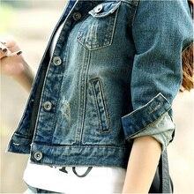 2017 Spring and autumn fashionable denim jacket female long sleeve pocket slim short jacket women cool jacket
