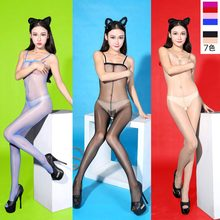 Sexy Candy Colors Plus Sze High Waist Shiny Glossy Oil Stocking Open Crotch Bodysuit Pantyhose Tight Erotic Sexy Lingerie FX7(China)