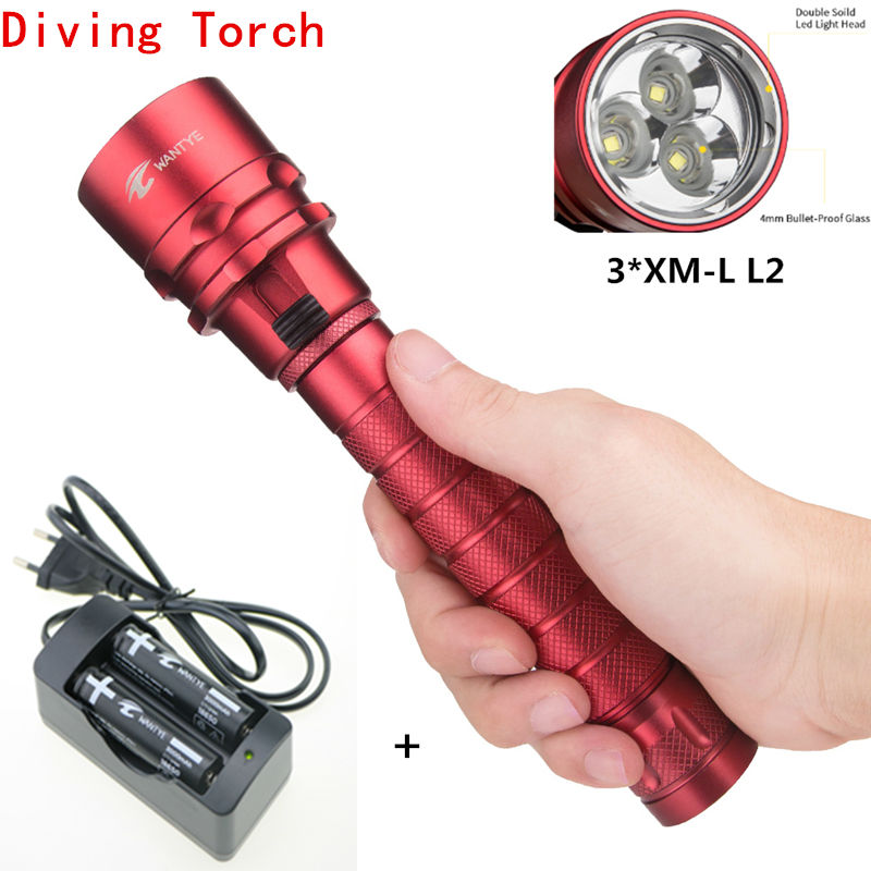 Underwater diving light 6000Lm 3x XML XM-L L2 LED Diving Flashlight Waterproof Torch Lamps Lantern+18650 Batteries/Charger new 6000lm underwater diving flashlight torch 3x xml l2 led light waterproof linterna 3 l2 led flash light 26650 charger