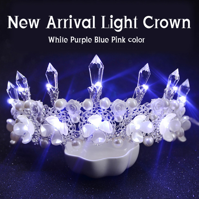 2016 New Arrival Elegant Pearl Bridal Tiara Shiny Purple Glowing crown Fashion White Light Rhinestone Wedding Hair Accessories